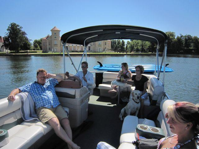 """Ausflug auf dem Rheinsberger See auf dem neuen Boot des Gasthauses """"Am Rheinsberger See"""""""